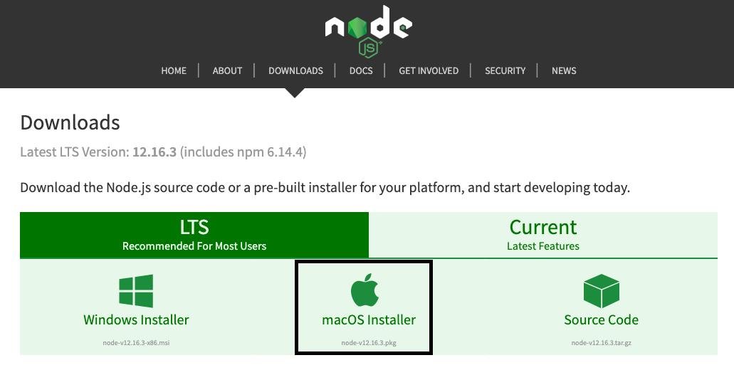node js install mac