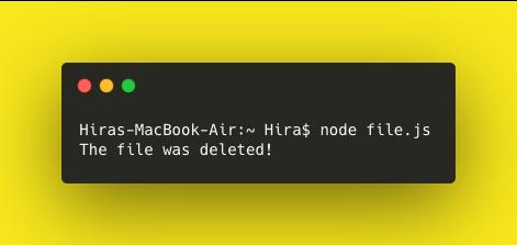 deleting a file in node js